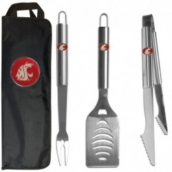 Washington St. Cougars 3 pc Stainless Steel BBQ Set with Bag