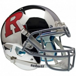 Rutgers Scarlet Knights Authentic College XP Football Helmet Schutt Chrome Red R and Silver Stripe