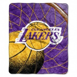 Los Angeles Lakers Blanket 50x60 Sherpa Reflect Design