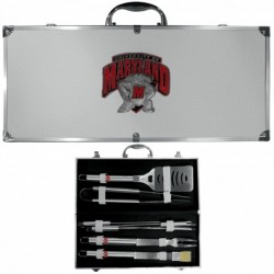 Maryland Terrapins 8 pc Stainless Steel BBQ Set w/Metal Case
