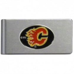 Calgary Flames Brushed Metal Money Clip