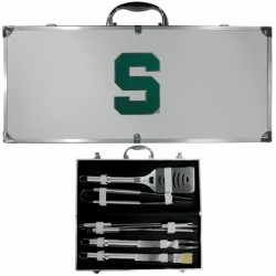Michigan St. Spartans 8 pc Stainless Steel BBQ Set w/Metal Case