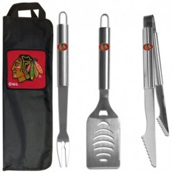 Chicago Blackhawks 3 pc Stainless Steel BBQ Set with Bag
