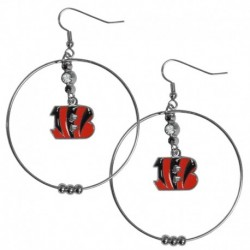 Cincinnati Bengals 2 Inch Hoop Earrings